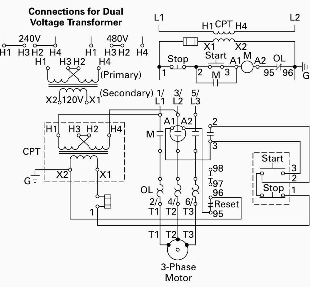 medium resolution of wiring of control power transformer for motor control circuits eep phase motor connection schematic power and control wiring