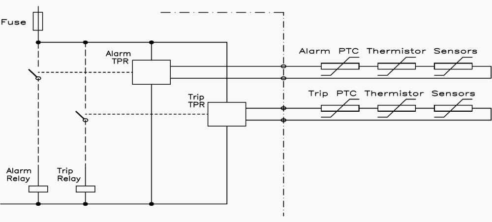 medium resolution of typical connection of thermistor protection relays