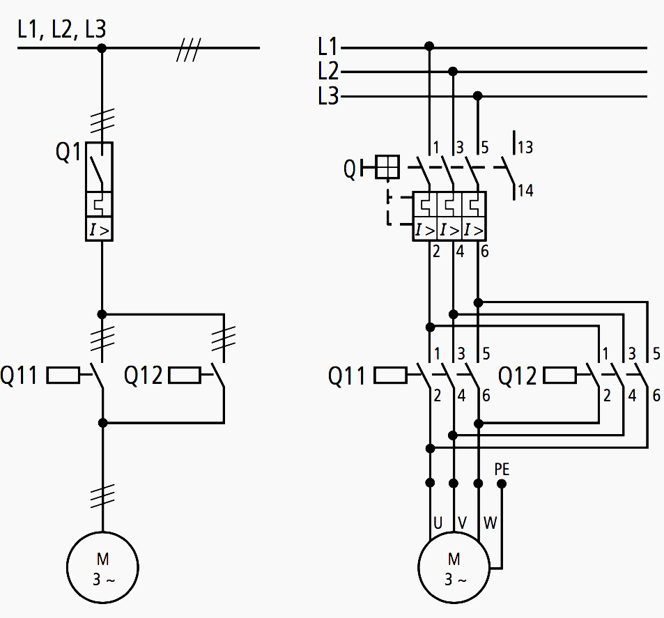 medium resolution of motor circuit diagram 1 pole and 3 pole representation