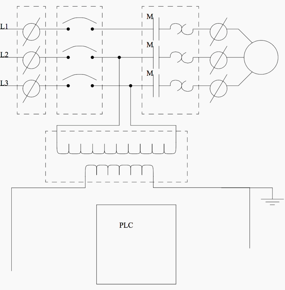 medium resolution of an electrical schematic with a plc
