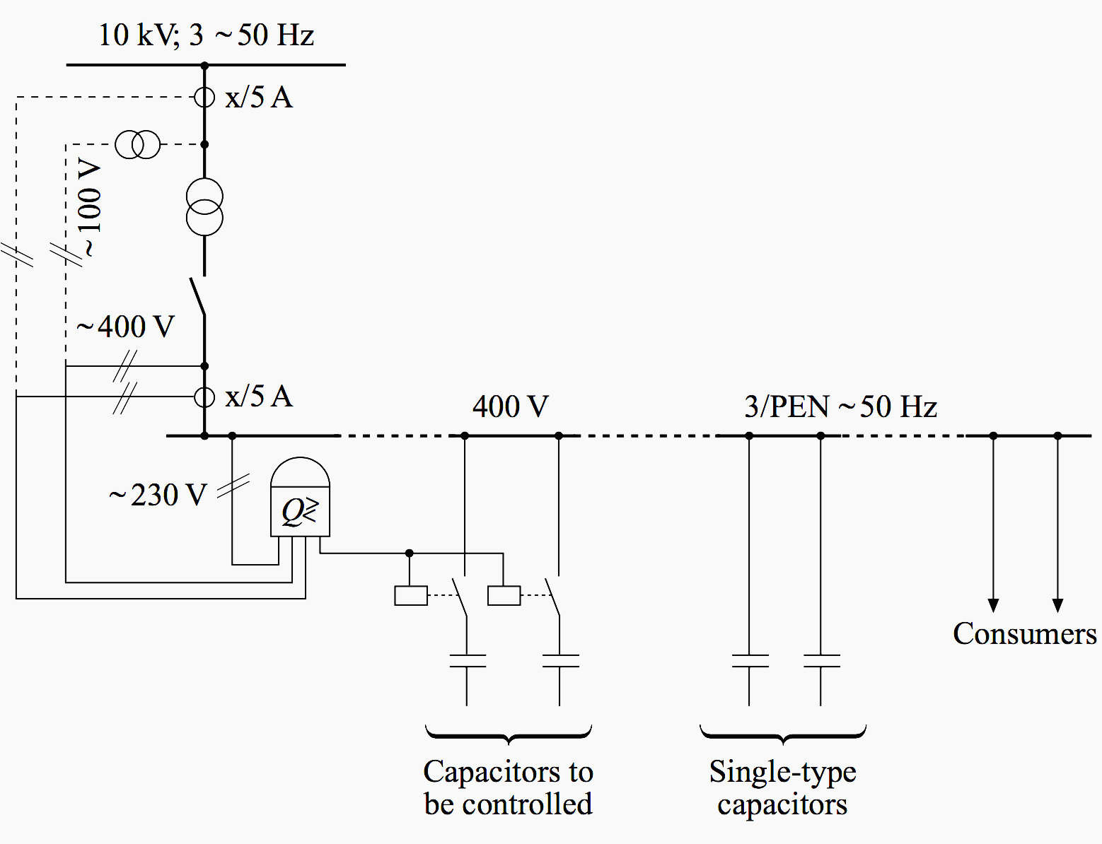 hight resolution of circuit diagram of compensation taking the current and voltage path either from the lv or from