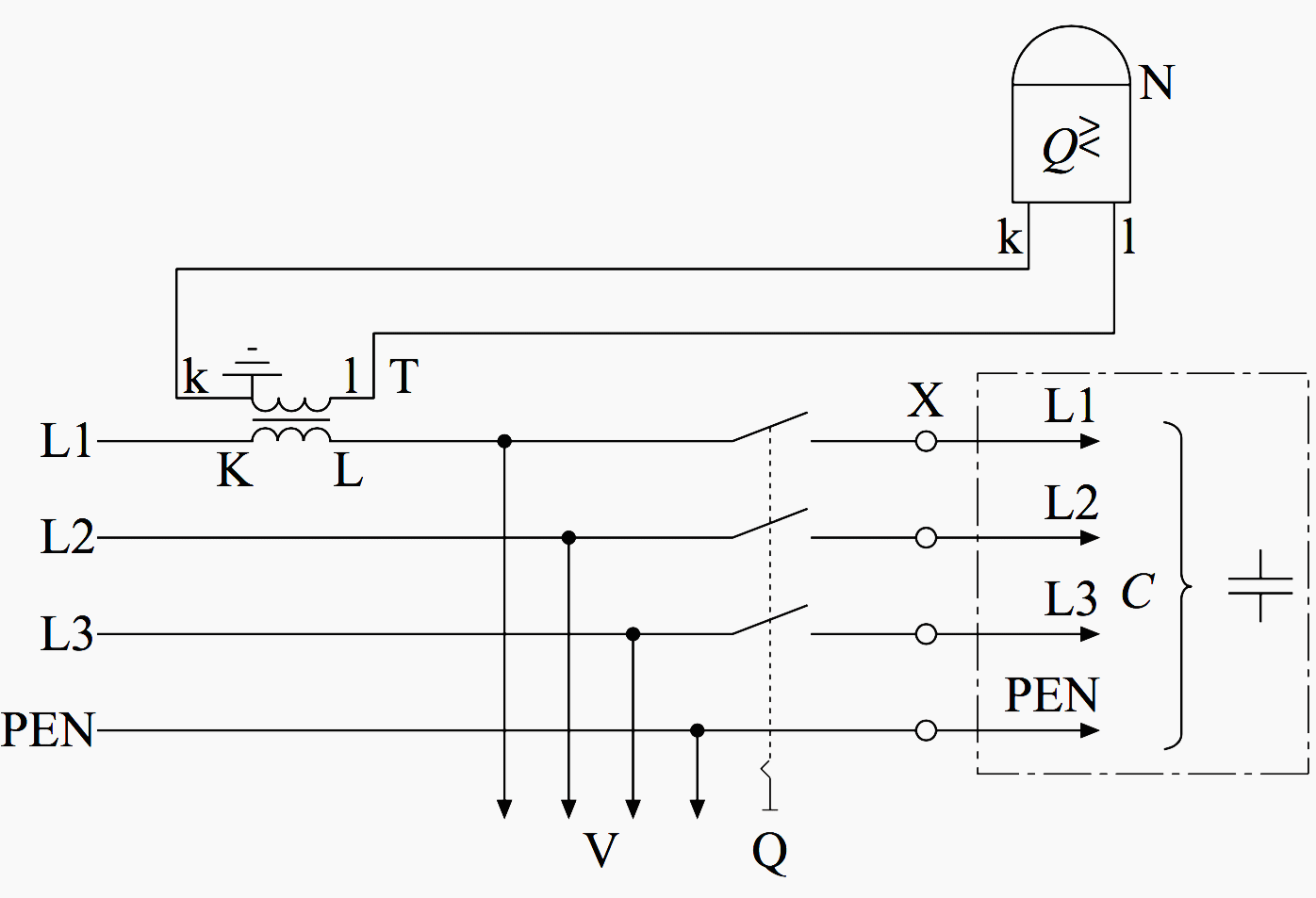 hight resolution of simplified connecting diagram of the current path to the reactive power relay