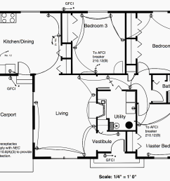 floor plan of a residence showing the duplex receptacle layout [ 1510 x 1268 Pixel ]