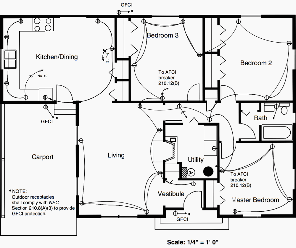 medium resolution of floor plan of a residence showing the duplex receptacle layout