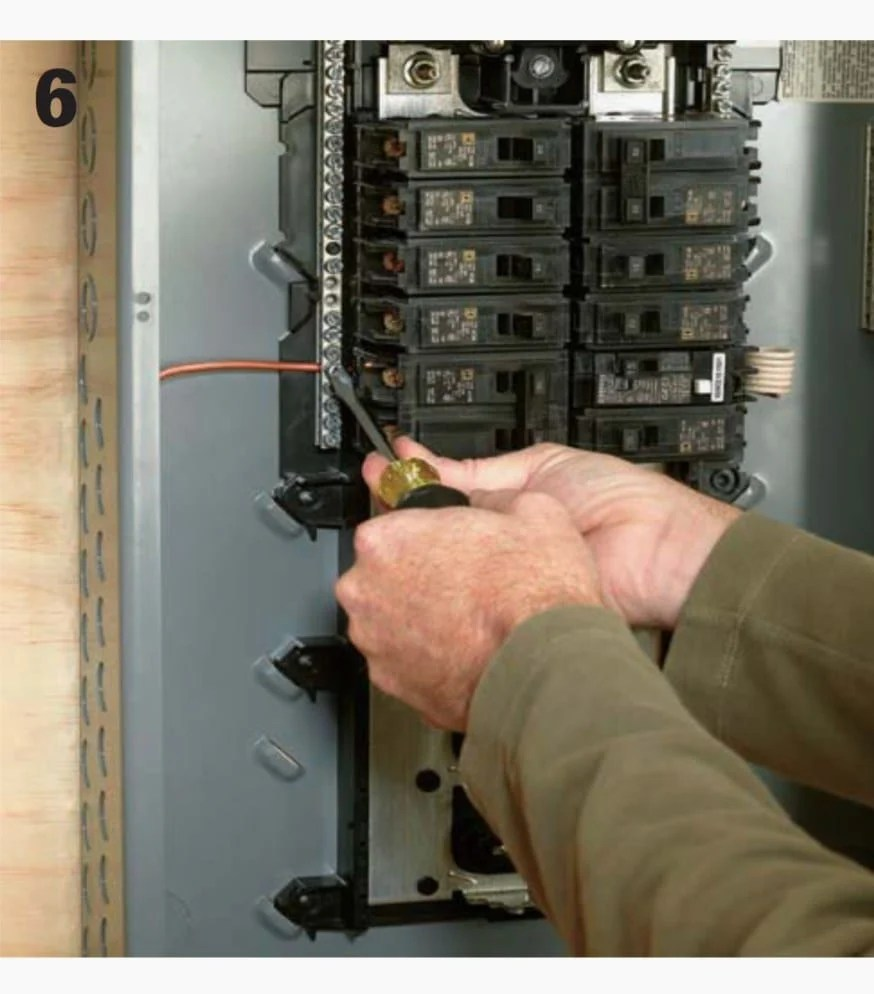 hight resolution of locate an open hole on your ground and neutral bus and insert the ground wire