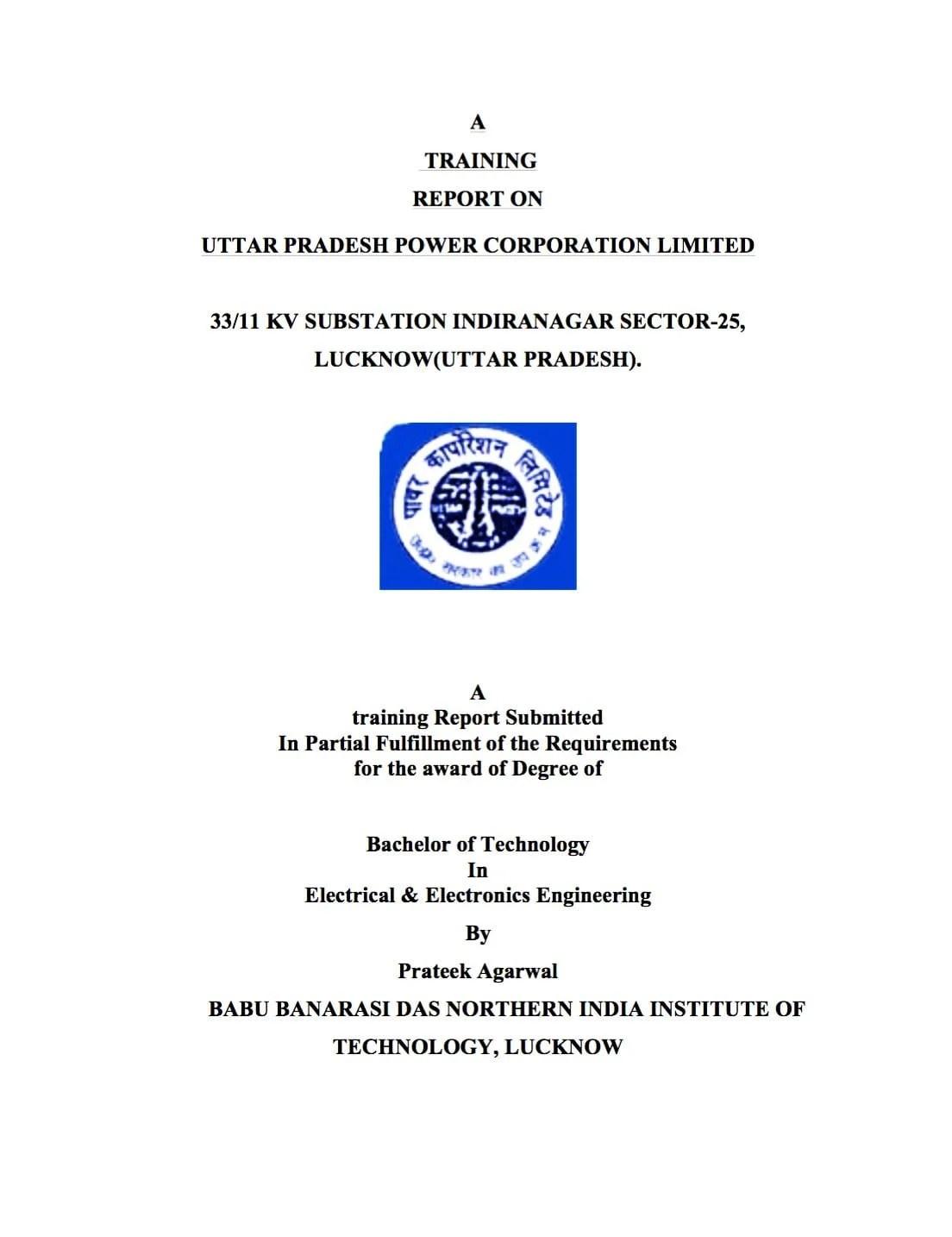 Training report on 33/11 kV power substation