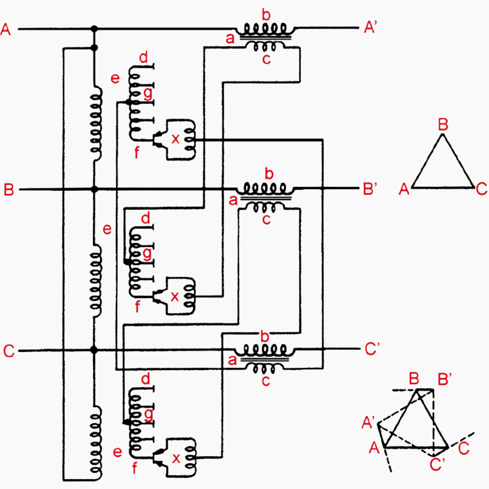 medium resolution of winding arrangement of phase angle displacement transformer quadrature booster