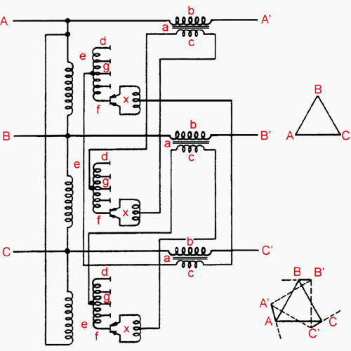 small resolution of winding arrangement of phase angle displacement transformer quadrature booster