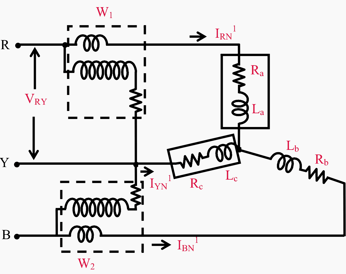 hight resolution of connection diagram for two wattmeter method of power measurement in a three phase balanced