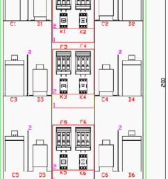 arrangement of elements in reactive power panel cad drawing  [ 725 x 1380 Pixel ]