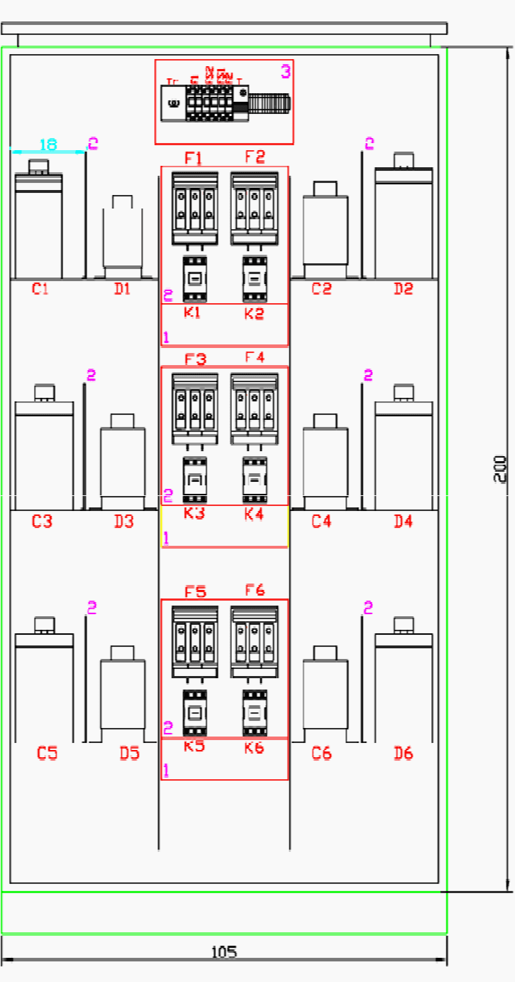 hight resolution of arrangement of elements in reactive power panel cad drawing