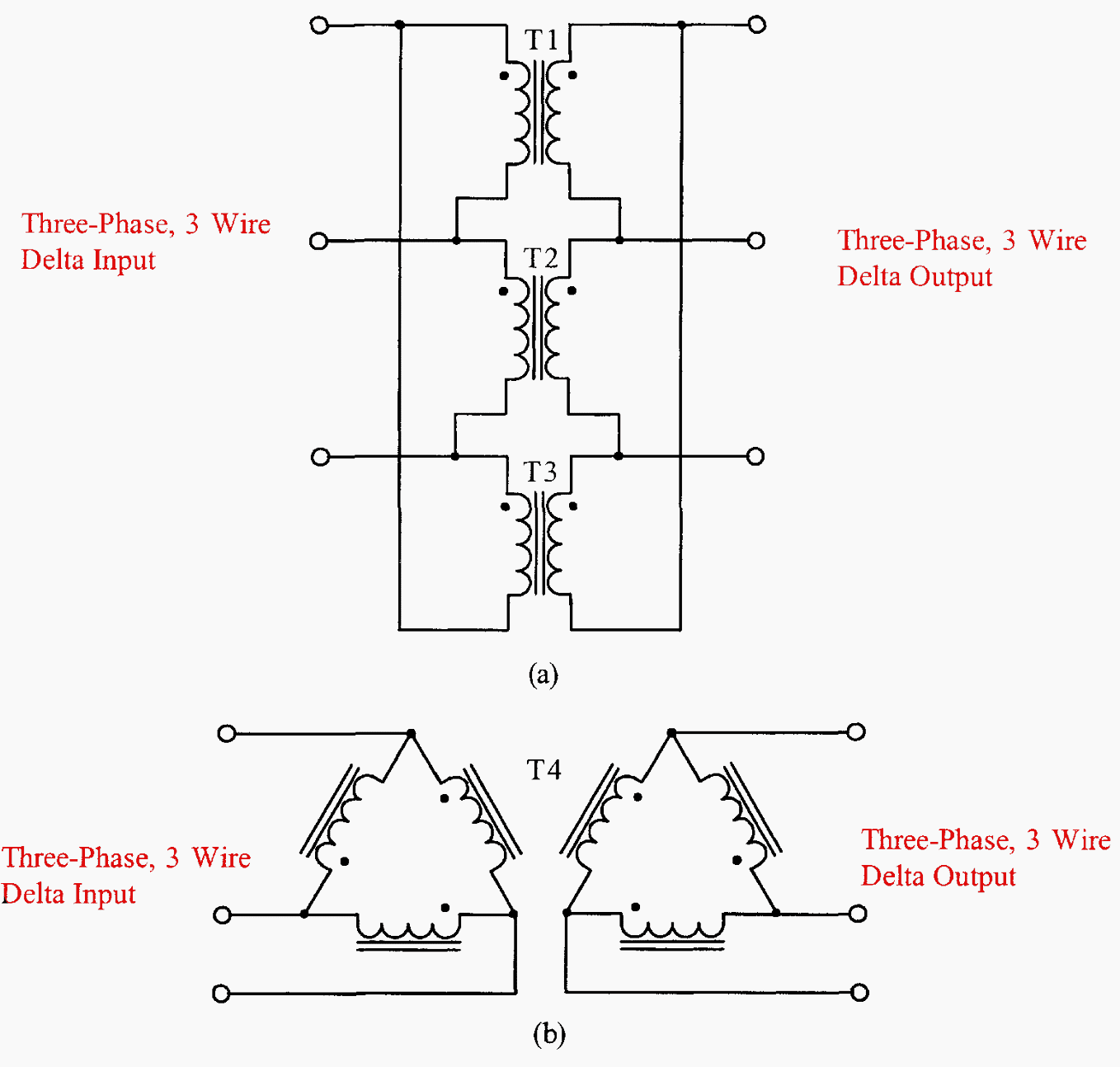 hight resolution of comparing three single phase transformers connected in three phase delta
