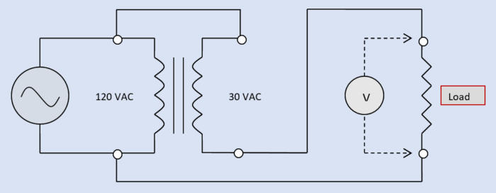 Diagram Of A Single-phase AC Transformer Connected As An