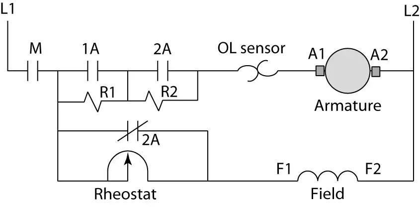 DC motor with starting resistors in armature circuit