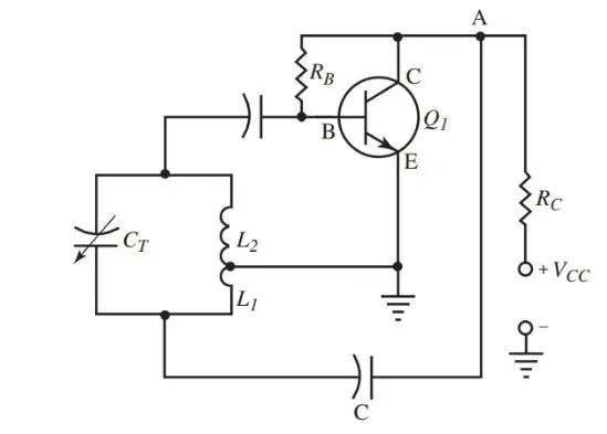A shunt fed Hartley oscillator circuit diagram