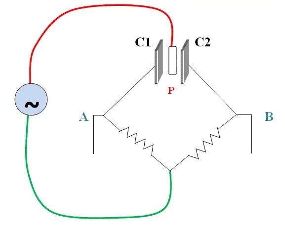 Circuit diagram of displacement type accelerometer