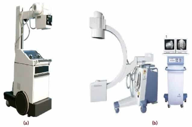 Types of X-Ray Machines (a) Portable Radiography Machine (b) C-arm Radiography Machine