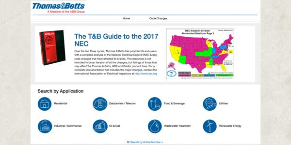 Thomas & Betts Provides New Web Analysis for 2017 NEC