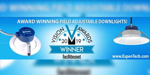 Espen Technology Recognized with Vision Award for Field-Adjustable Downlights