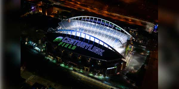 The Seattle Seahawks and CenturyLink Field Shine Bright from the Rooftop