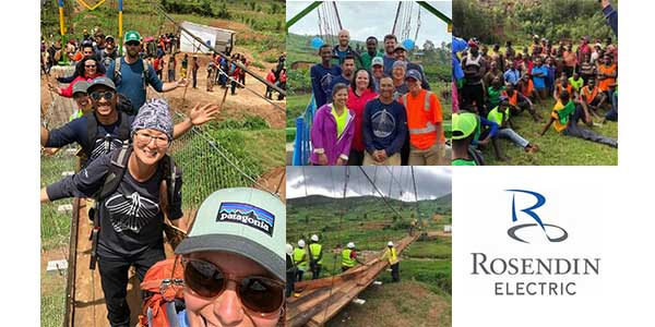 Rosendin Volunteer Team Builds 161 Foot Suspension Bridge in Rwanda
