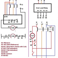 3 Phase Dol Wiring Diagram Low Voltage Outdoor Fuse Over Load Relay & Contactor For Starter | Electrical Notes Articles