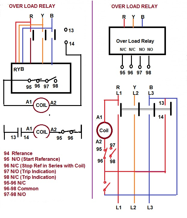 220 Volt Relay Switch Wiring Diagram Over Load Relay Amp Contactor For Starter Electrical Notes