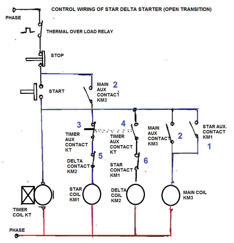 star delta starter electrical notes articles 3 phase delta wiring star delta control wiring [ 980 x 1018 Pixel ]