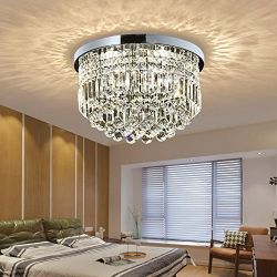 Saint Mossi Modern K9 Crystal Raindrop Chandelier Lighting Flush Mount LED Ceiling Light Fixture