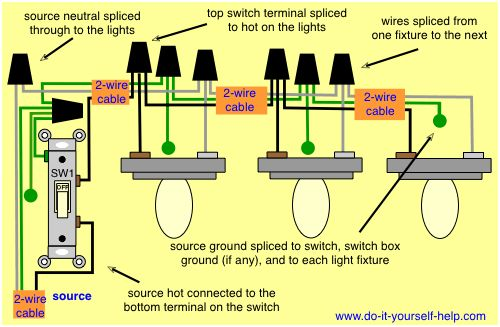 How to Wire 3 Lights to One Switch Diagram