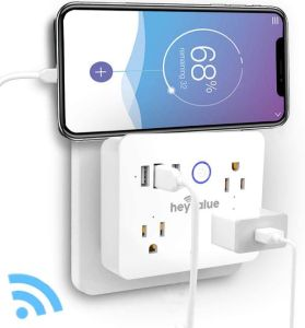 HEYVALUE Smart Plug, Wifi Surge Protector, Voice Control with Alexa & Google Home
