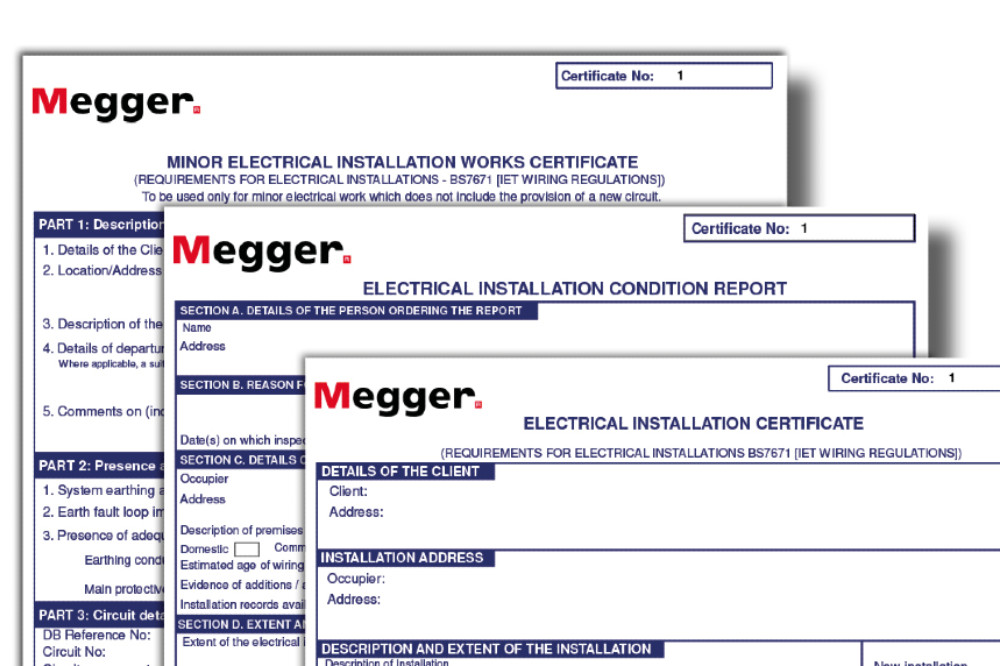 Megger electrical certification software