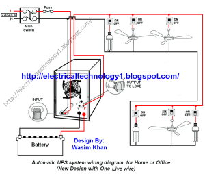 Automatic UPS system wiring circuit diagram for Home or Office