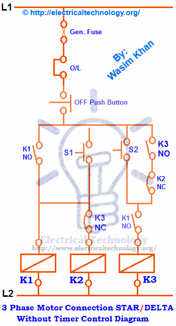 Abb Reversing Contactor Wiring Diagram Three Phase Motor Connection Star Delta Without Timer