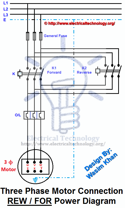 REV FOR Three Phase Motor Connection Power And Control Diagrams