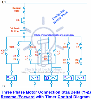 Three Phase Motor Connection StarDelta (YΔ) Reverse