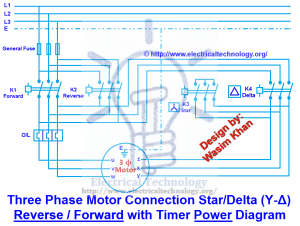 Three Phase Motor Connection StarDelta (YΔ) Reverse