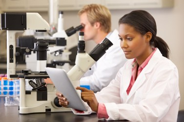 Two Lab Workers At Microscopes