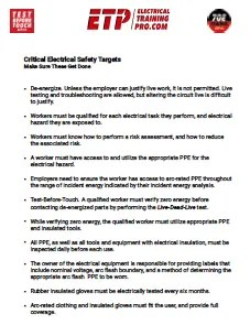 Critical Electrical Safety Targets
