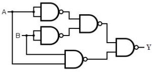 XNOR gate using 5 NAND gates