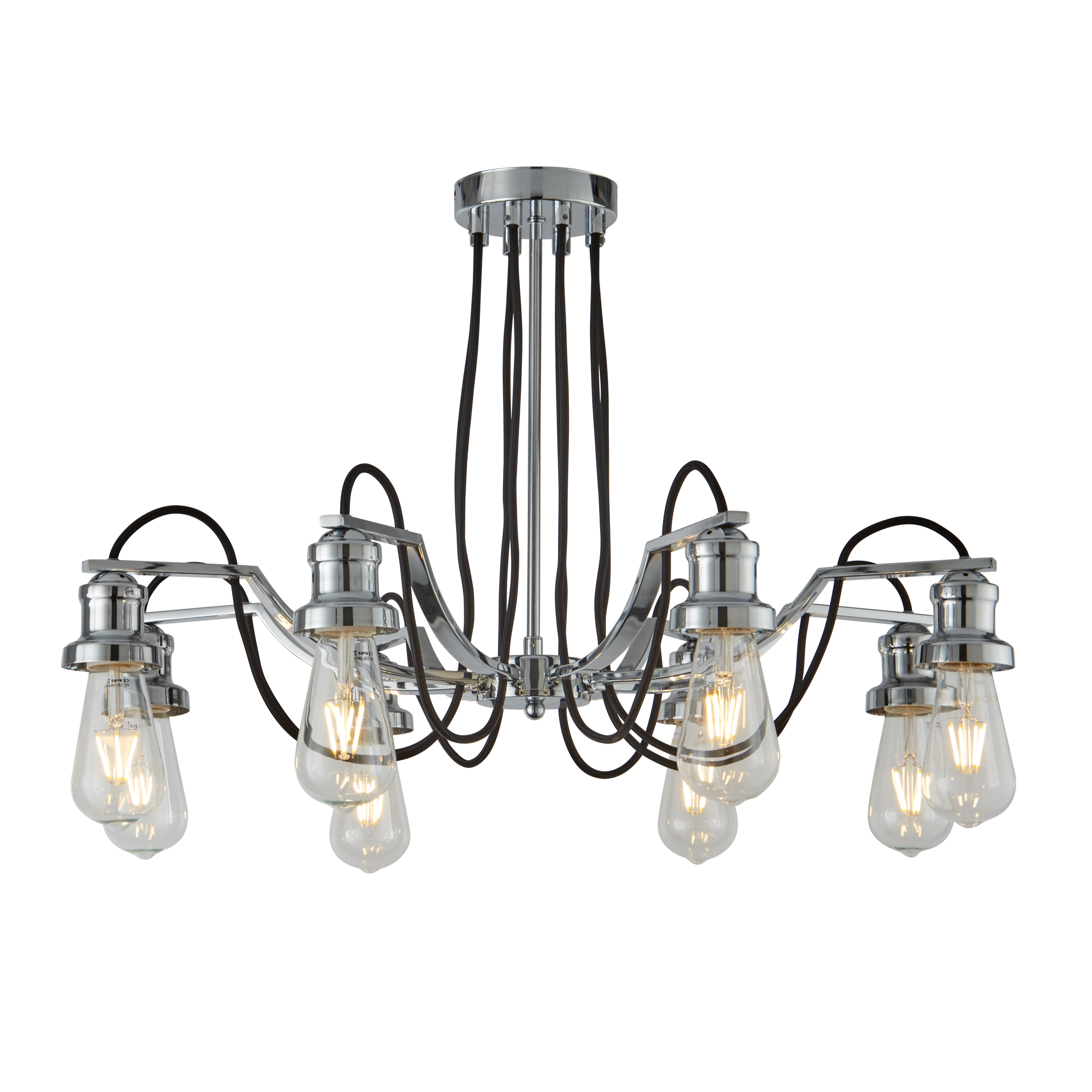 Searchlight 1068-8CC OLIVIA 8 LIGHT CEILING, BLACK BRAIDED