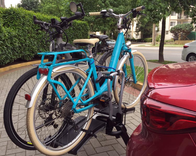 Our two electric bikes are rock solid on our Thule 9032 Easy Fold Bike Rack Review
