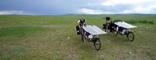 The solar electic bikes on the Tour de Mongolia.