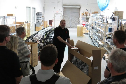 Robert Provost talks about their boxing process. ProdecoTech bikes arrive almost completely assembled.