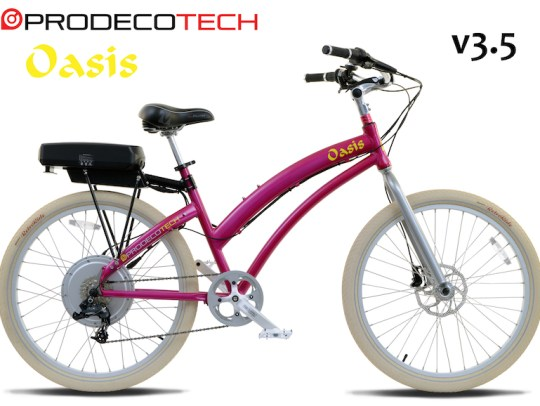 The new ProdecoTech Oasis step thru beach cruiser e-bike.