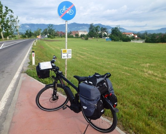 european electric bike tour bike sign