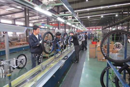 The bike assembly line at Golden Wheel.