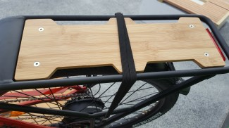A flat tray with useful pannier cutouts