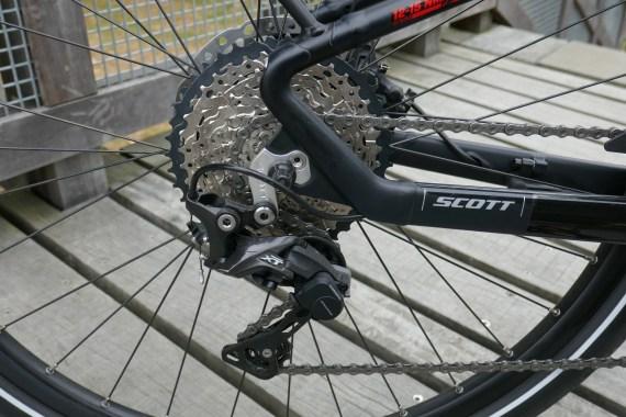XT rear mech, the chain stays flex a bit for comfort