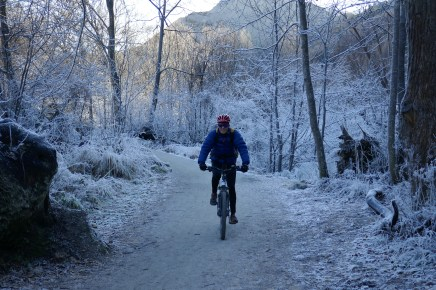 Crunching through the frost along the Arrow River